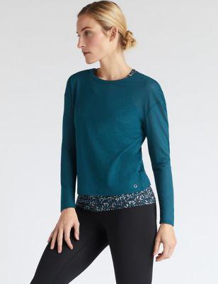 Scoop Neck Double Layer Long Sleeve Top
