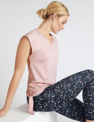 V-Neck Tie Side Short Sleeve Yoga Top