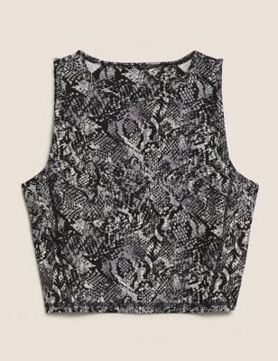 Printed Scoop Neck Cropped Vest Top