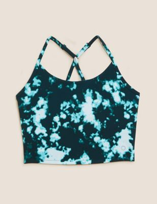 Printed Cross Back Strappy Cropped Top