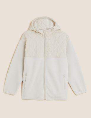 Borg Quilted Hooded Oversized Fleece Jacket