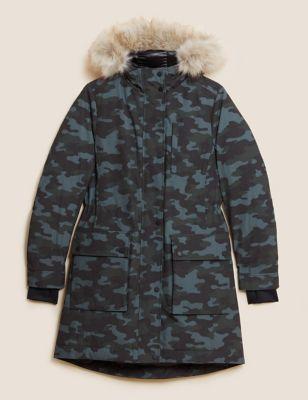 Feather & Down Camo Parka Coat
