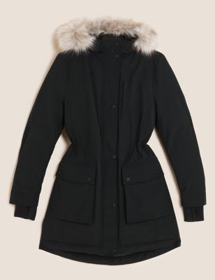 Feather & Down Padded Hooded Parka Coat