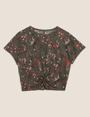 Printed Twist Front Cropped Top