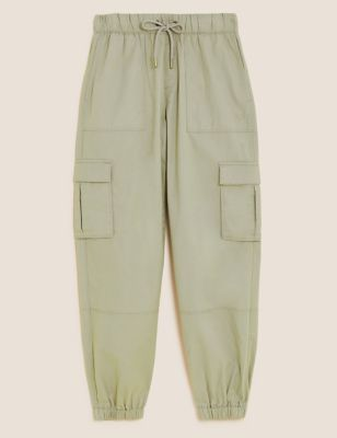 Cotton Cargo Cuffed Relaxed Trousers