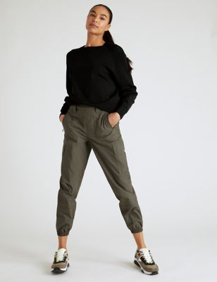 Pure Cotton Utility Cuffed Walking Trousers