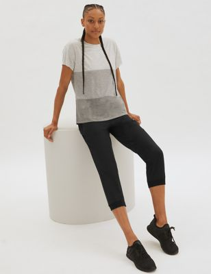 Woven Cuffed Cropped Sports Joggers