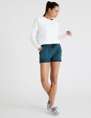 Cotton High Waisted Cargo Shorts