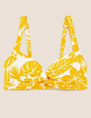 Floral Padded Twist Front Bikini Top