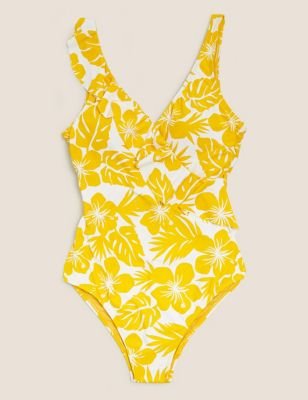 Floral Tummy Control Padded Ruffle Swimsuit