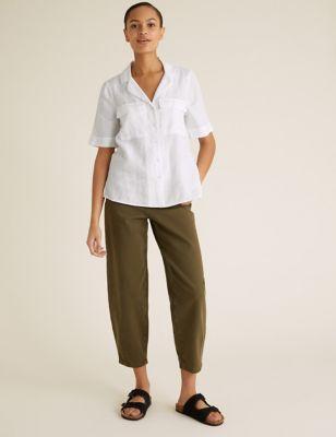 Pure Linen Collared Short Sleeve Shirt