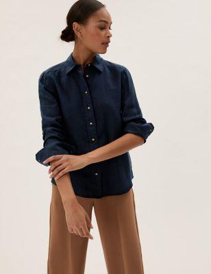 Pure Linen Collared Long Sleeve Shirt