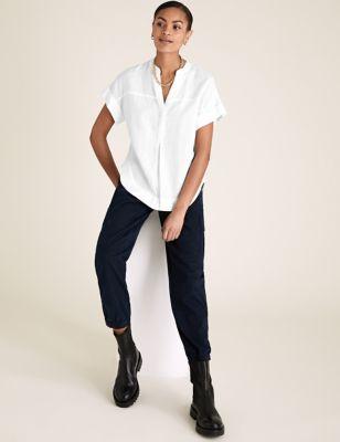 Pure Linen V-Neck Short Sleeve Blouse