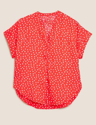 Pure Linen Polka Dot Short Sleeve Blouse