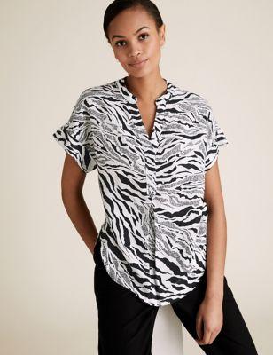 Pure Linen Zebra Print Short Sleeve Blouse