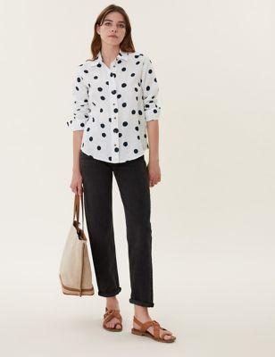 Pure Linen Polka Dot Long Sleeve Shirt