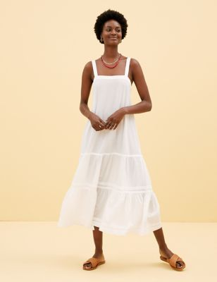 Pure Cotton Midaxi Tiered Dress