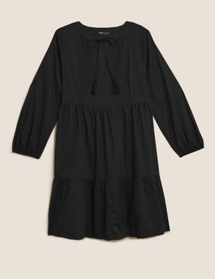 Pure Cotton Pintuck Mini Swing Dress