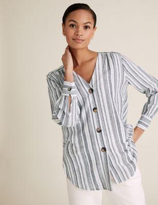 Linen Striped V-Neck Button Detail Tunic