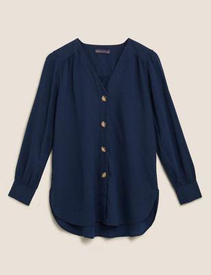 Linen V-Neck Button Through Tunic