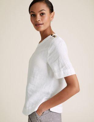 Pure Linen Button Detail Short Sleeve Top