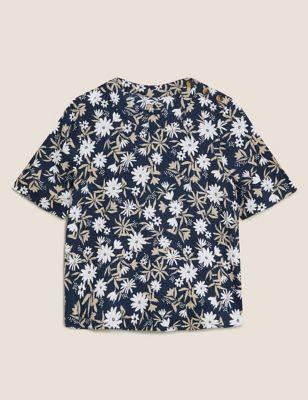 Pure Linen Floral Short Sleeve Top