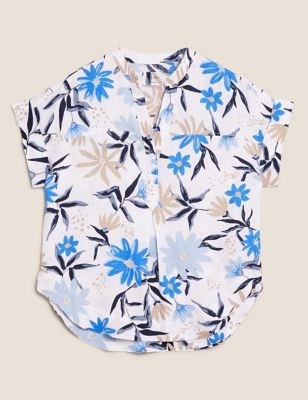 Pure Linen Floral V-Neck Popover Blouse