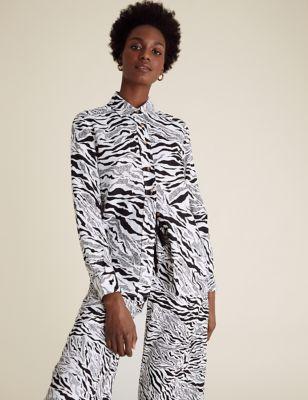 Pure Linen Animal Print Long Sleeve Shirt