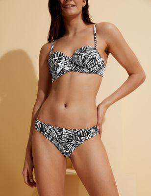 Monochrome Print Tanga Bikini Bottoms