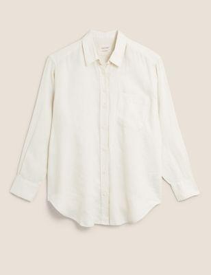 Pure Linen Oversized Long Sleeve Shirt