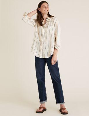 Pure Linen Striped Oversized Shirt