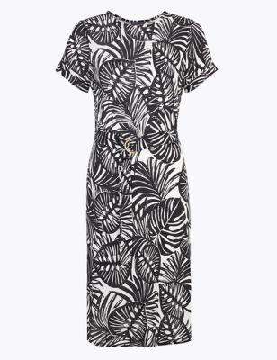 Jersey Monochrome Leaf Belted Beach Dress