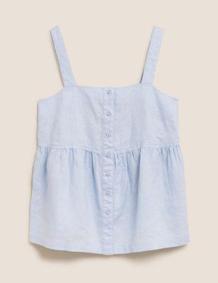 Pure Linen Button Detail Cami Top