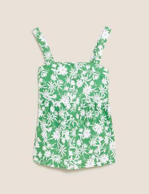 Pure Linen Floral Button Detail Cami Top