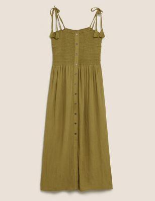 Shirred Midi Swing Beach Dress