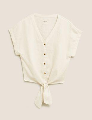 Pure Linen Tie Front Short Sleeve Top