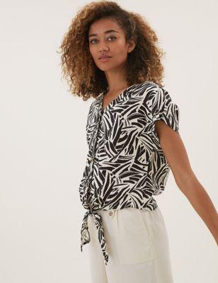 Pure Linen Animal Print Tie Front Top
