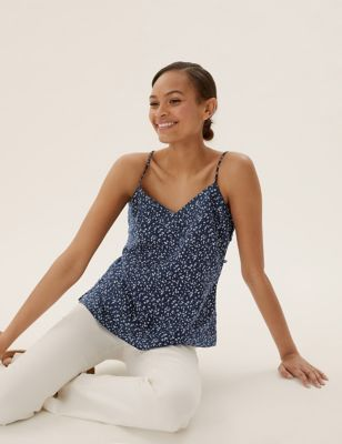 Pure Linen Ditsy Floral V-Neck Cami Top