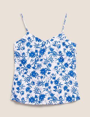 Pure Linen Floral V-Neck Cami Top
