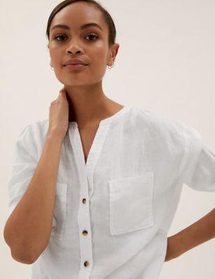 Pure Linen Collarless Long Sleeve Shirt