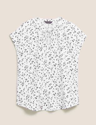 Pure Linen Printed Tie Neck Shell Top