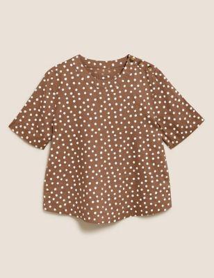 Pure Linen Polka Dot Short Sleeve Top