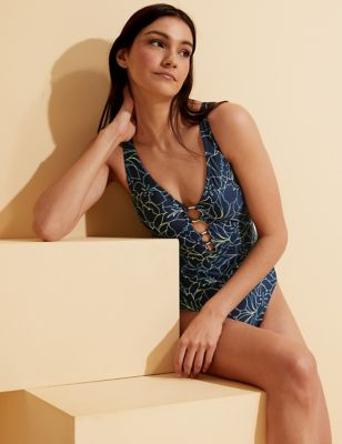 Floral Ring Detail Plunge Swimsuit