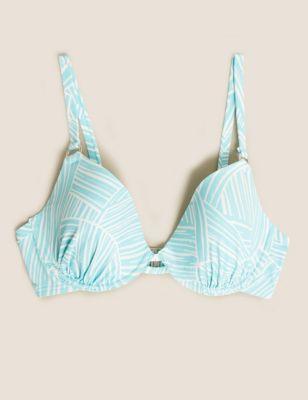 Striped Wired Plunge Bikini Top
