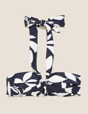 Leaf Print Padded Twist Front Bikini Top