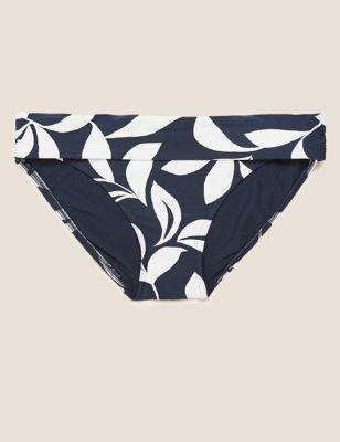 Leaf Print Roll Top Bikini Bottoms