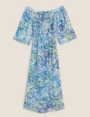 Printed Bardot Midi Beach Dress