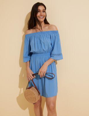 Bardot Mini Waisted Beach Dress