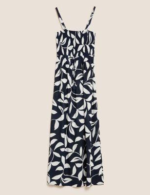 Leaf Print Maxi Shirred Beach Dress