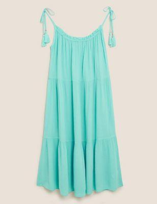 Cotton Textured Midi Slip Beach Dress